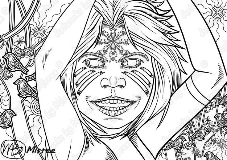 """I created this single Colouring page for kids to Colouring in celebration of """"Children's Day""""...The image contains a happy Aboriginal girl with her arms in the air covered in body paint, the house sparrows (wild birds) on olive trees and branches, white cabbage butterflies and all the symbols for the ancestors all around her, the guidance comes from within her on this bright sunny day.Hi everyone, thanks to all of you, I've almost reached my goal! What an amazing effort, thank you so much…"""