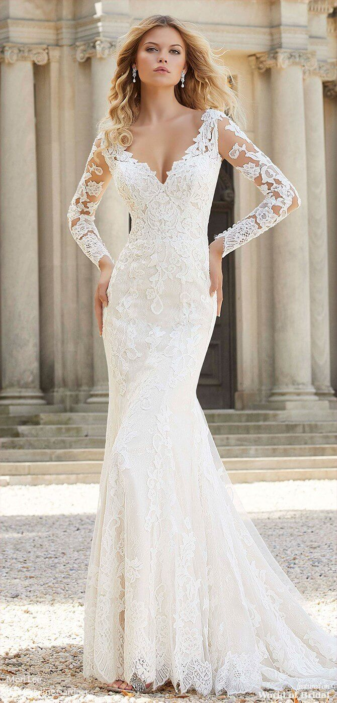 Mori Lee By Madeline Gardner Spring 2019 Secret Garden Bridal Collection World Of Bridal Lace Wedding Dress With Sleeves Fitted Lace Wedding Dress Long Sleeve Wedding Dress Lace [ 1399 x 670 Pixel ]