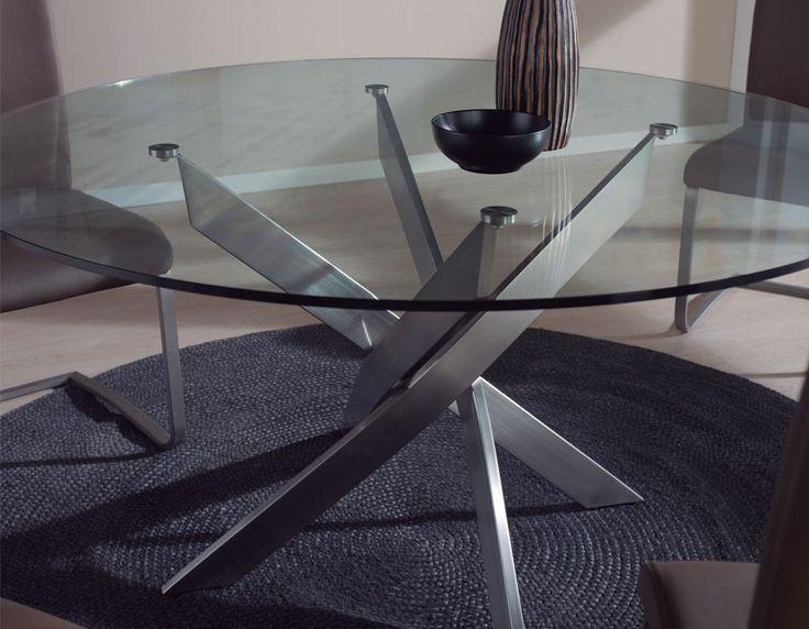Table à manger design ronde en verre et acier IVAR 3