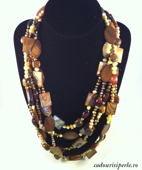 Perle nugget aurii, ruginii, maro si galbui, agate, ochi de tigru si sidef, toate adunate intr-un colier de mare efect. Colier unicat. Se pot realiza la comanda alte modele in alte combinatii.