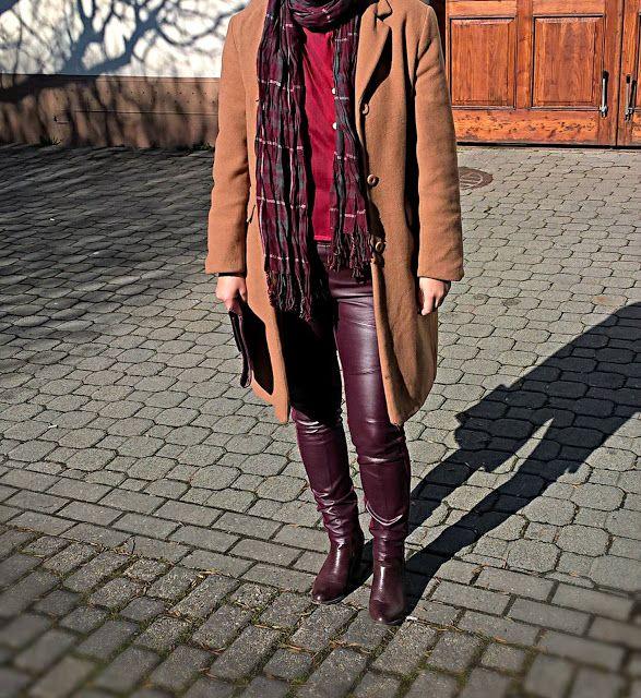 VGRV blog, camel coat, burgundy vintage blouse, vintage burgundy clutch, burgundy pants with leather details, burgundy ankle boots, burgundy checked scarf