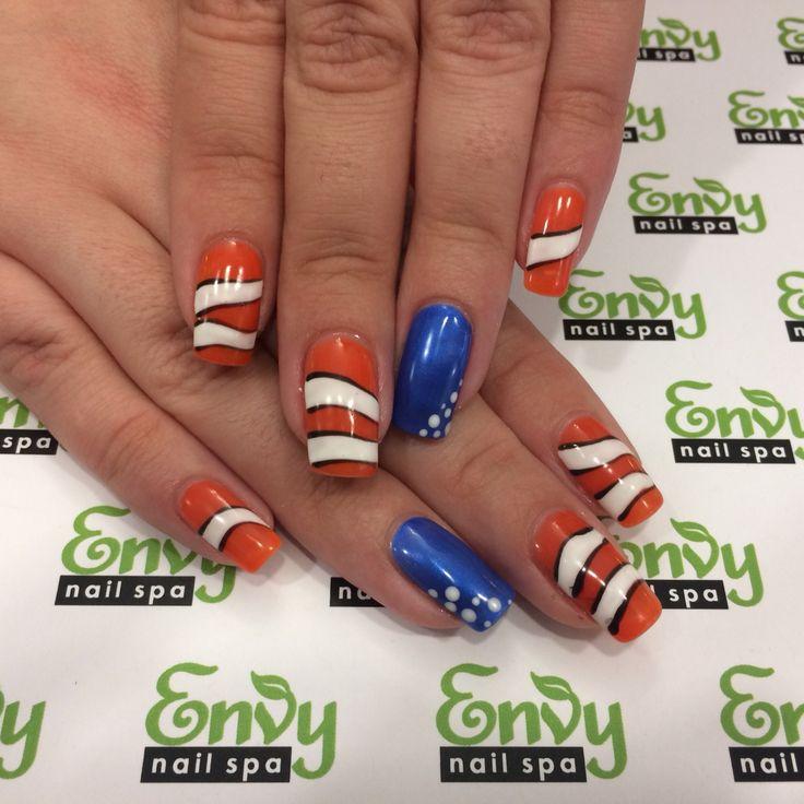 Finding Nemo, Clown Fish Nails - Envy Nail Spa