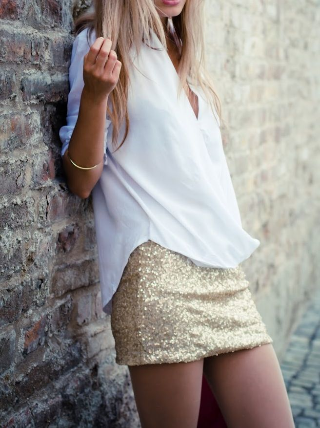 Sequin mini skirts.