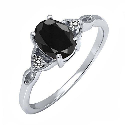 1.73 Ct Oval Black Sapphire White Diamond 925 Sterling Silver Ring	by Gem Stone King - See more at: http://blackdiamondgemstone.com/jewelry/rings/173-ct-oval-black-sapphire-white-diamond-925-sterling-silver-ring-com/#sthash.L1PKWE9m.dpuf