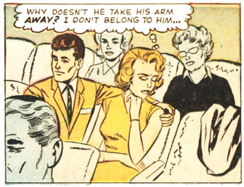 "Comic Girls Say.. ""Why doesn't he take his arm away ? i don't belong to him"" #Vintage #Comic #PopArt"