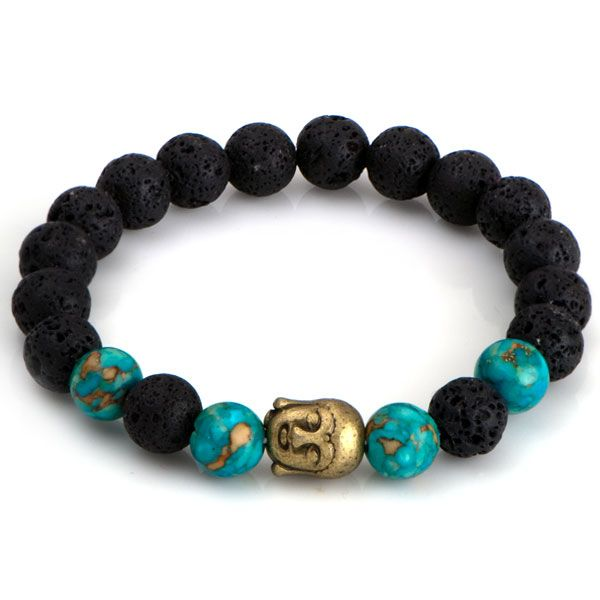 NRB0026 Buddha náramok s Lávovým kameňom a Tyrkysom : Šperky Swarovski, SuperSperky.sk