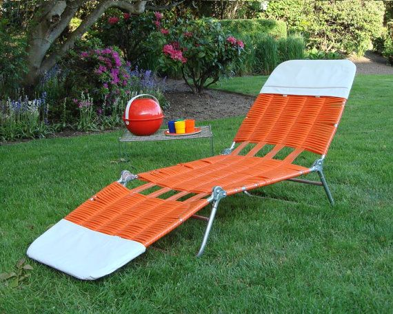 Vintage Mod Orange and White Chaise Lounge Lawn Chair