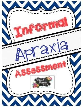 This is an informal apraxia assessment. Please note that this is not a standardized assessment; you must use your clinical judgment to decide what your student needs to work on. Print copies of the data sheet (pg. 3-5) as needed. The stimulus items and pictures cards (pg. 6-21) should be printed in color and laminated for repeated use.
