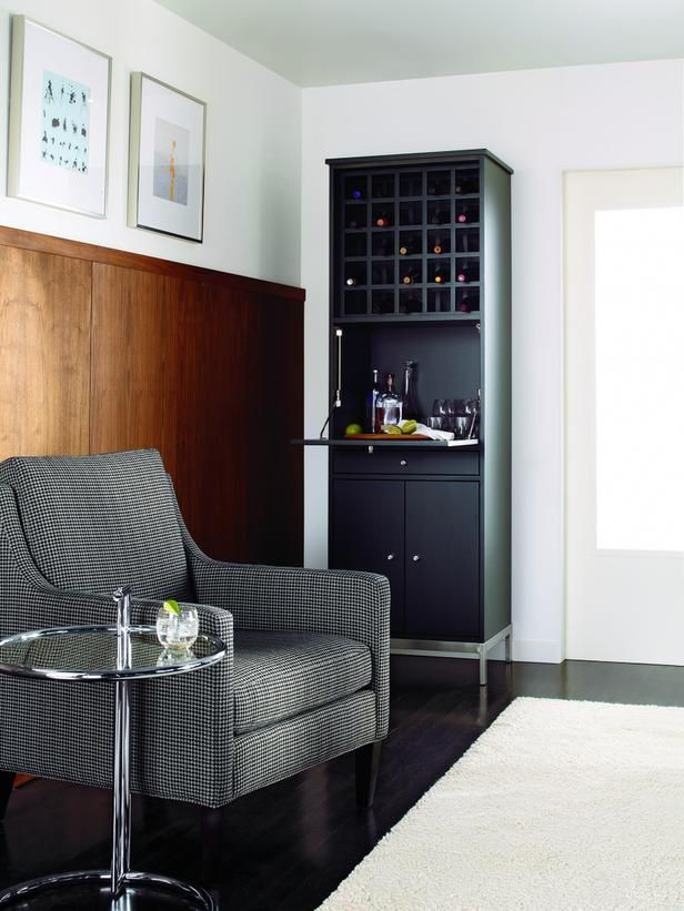 ... Open Cubbies For Wine Bottles, A Fold Down Shelf For Preparing Drinks,  And A Drawer And Cabinet For Closed Storage Makes Small Space Entertaining  Easy.