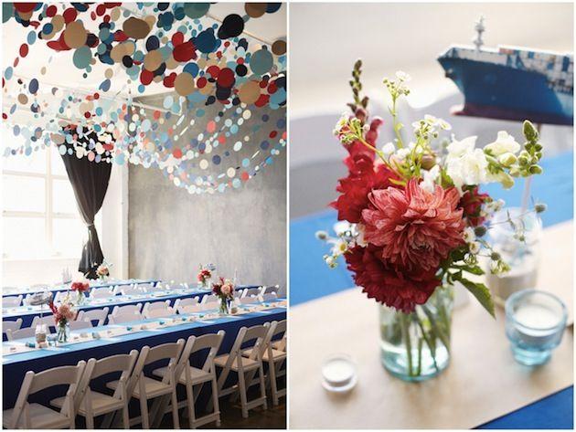 LOVE the polka dot garlands at this nautical chic wedding!