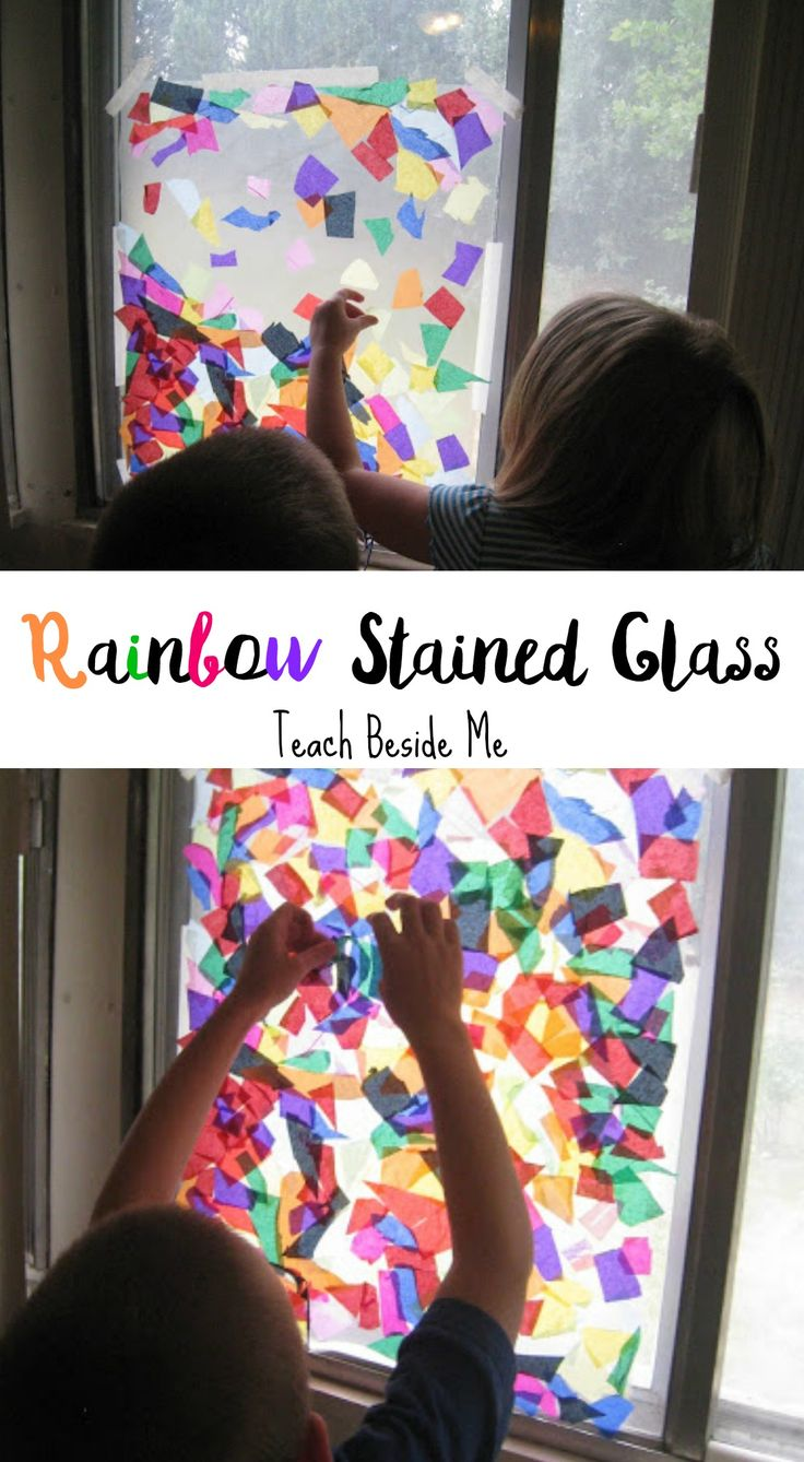 Want to brighten up your rooms?  Let your kids have fun with this simple rainbow stained glass window craft.  They will love you for it- and it really is beautiful.  How to Make the Rainbow Stained Glass Window: All you need is some colored tissue paper, masking tape, clear contact paper, and a window to hang …