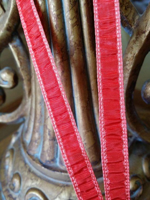 Vintage France Red Plisse ribbon trim gathered by VintageRibbons, $5.00