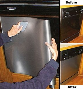 Get some stainless steel contact paper – yes, contact paper, and carefully apply it to your door. You're going to want to make sure that there are no broken or crooked edges. Completely coat the appliance with the contact paper, smoothing out any bubbles as you go.