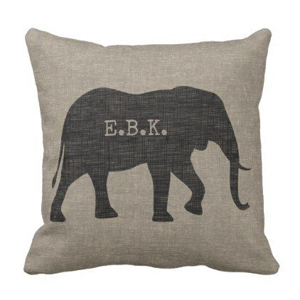 African Elephant Silhouette with Custom Text Throw Pillow - decor gifts diy home & living cyo giftidea