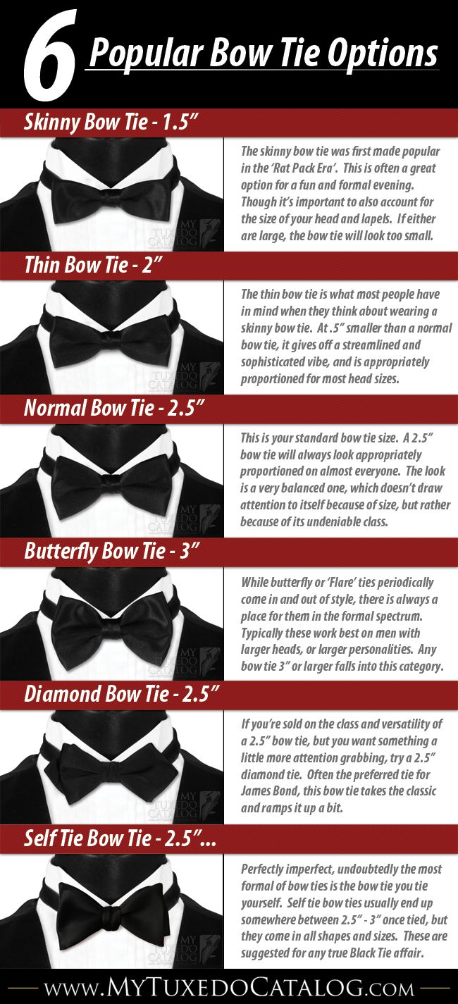 6 popular bow tie options More Visual Glossaries (for Him): Backpacks / Brogues / Cowboy Hats  / Cuffs / Eyeglass frames / Hangers / Hats / Jackets/Coats / Jacket Pockets / Man Bags / Moustaches / Necktie Knots / Pant Breaks / Shirt Anatomy / Shirt Collar Anatomy / Shirt Collars / Shoes / Stripes / Tartans / Trench Coat Anatomy / Vests / Vintage Hats / Wool