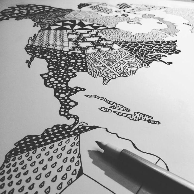 https://www.instagram.com/simonestubgaard/ ✍✍ #drawing #newprojectinprogress #art #world #worldmap #patterns #artist #simonestubgaard