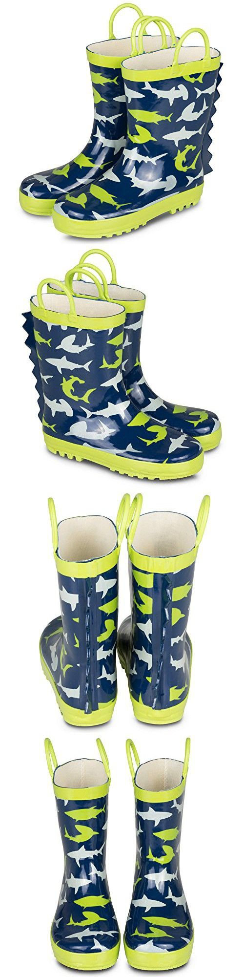 [SBR021P-SHARKPRINT-T6] Boys Rain Boots Shark Print Easy On Toddlers Size 6