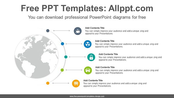 Radial World Map Powerpoint Diagram Template Templates