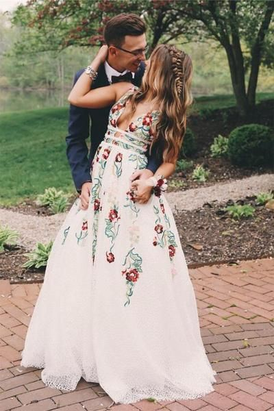 3d5b7c709d8 2019 V Neck White Embroidery Long Cheap Evening Prom Dresses