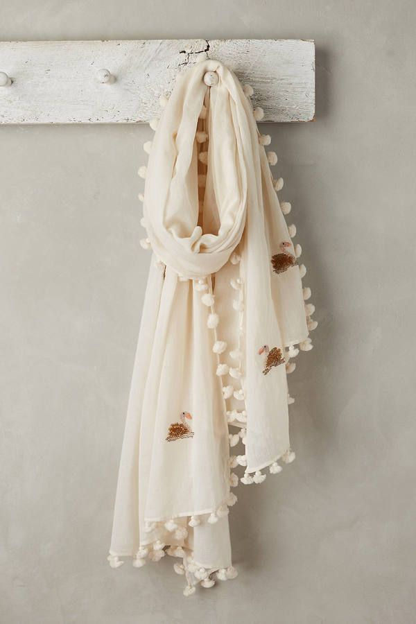 Anthropologie Sequined Swan Scarf