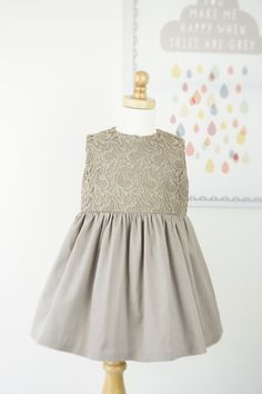 EmmaLisa Party Dress in Mocha & Lace by emmieandmedesigns on Etsy
