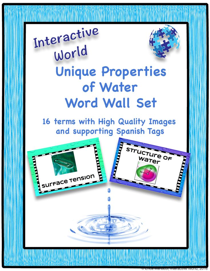 Words in this set include 14 key terms for concepts related to the Unique Properties of Water including *Polarity * Cohesion * Adhesion * Specific Heat * Density * pH Scale #TpT #Biogeochemical #WordWall #Water #InteractiveWorld