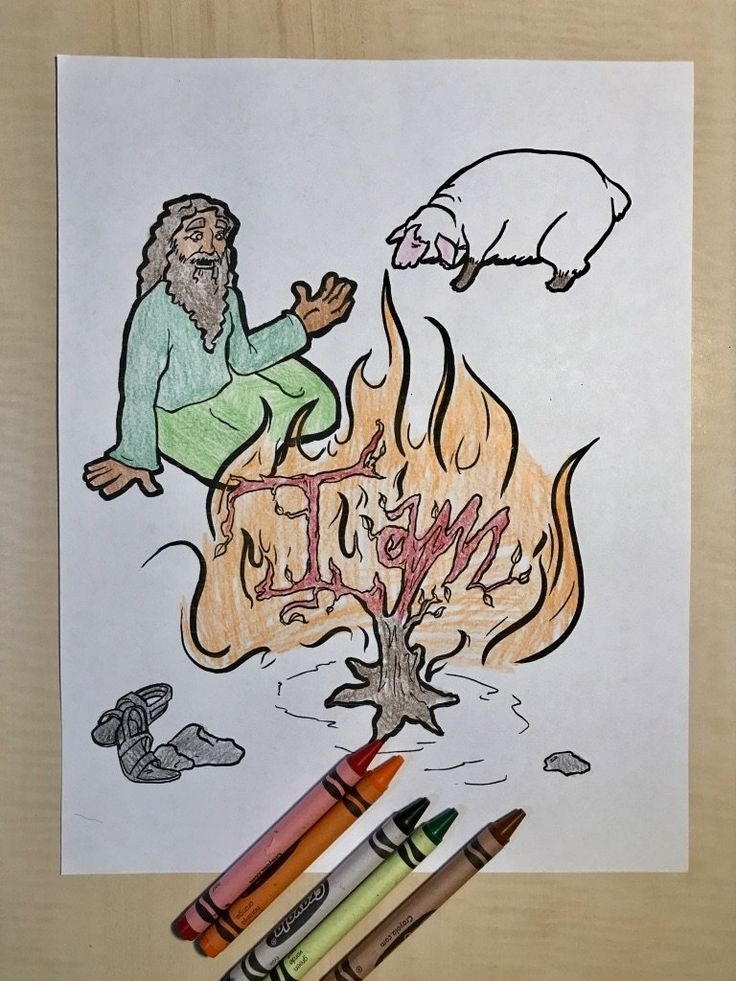 FREE Moses And The Burning Bush Coloring Page