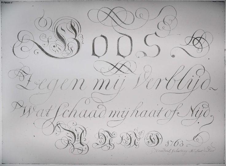 Hendrik Scholting | Ruit met het opschrift: 'Gods zegen mij verblijd. Wat schaad, mij haat of Nijd., Hendrik Scholting, 1763 | Rechthoekige ruit, waarop in gotische en cursieve letters het volgende opschrift is gekalligrafeerd: 'Gods // zegen mij verblijd. // Wat schaad, mij haat of Nijd. // Anno 1763'. Rechtsonder de signatuur 'Hendrik Scholting Mr Smit a Dort'