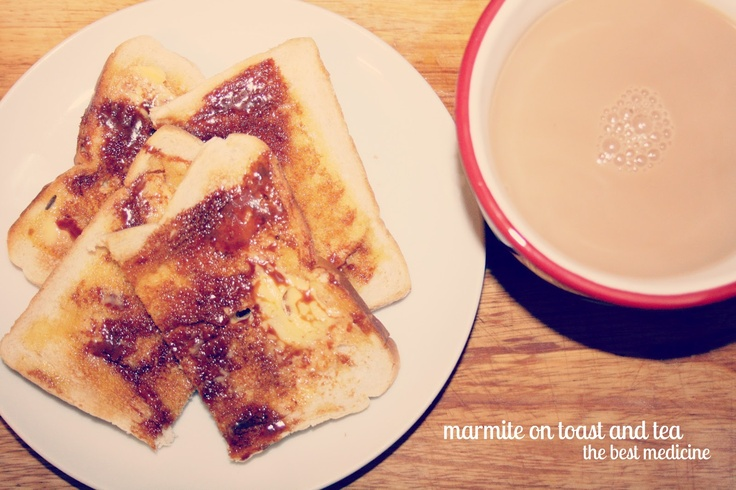 Marmite on toast and a hot cuppa tea. Simple effective comfort food. www.tablecrowd.com