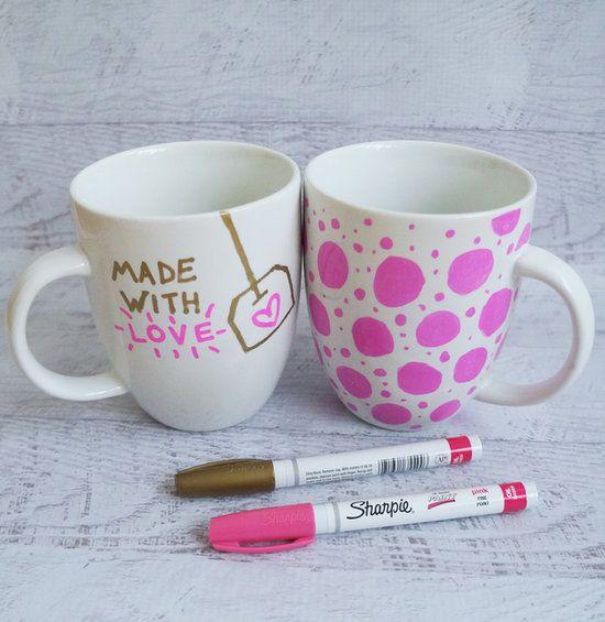 valentine sharpie mugs. click for tips and tricks on how to sharpie a mug