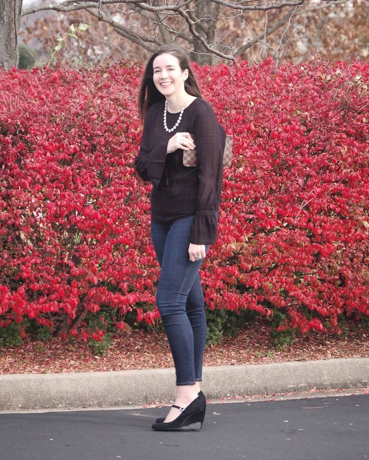 Aren't these red bushes gorgeous? We've seen them driving all over Lex and finally had to take some photos near some. They also helped as a bit of a wind break from the insane gusts that were making my eyes tear up and my hair go crazy  things you don't think of before taking blog pics right?? This look is coming to the blog tomorrow but you can shop it now from my shop page!
