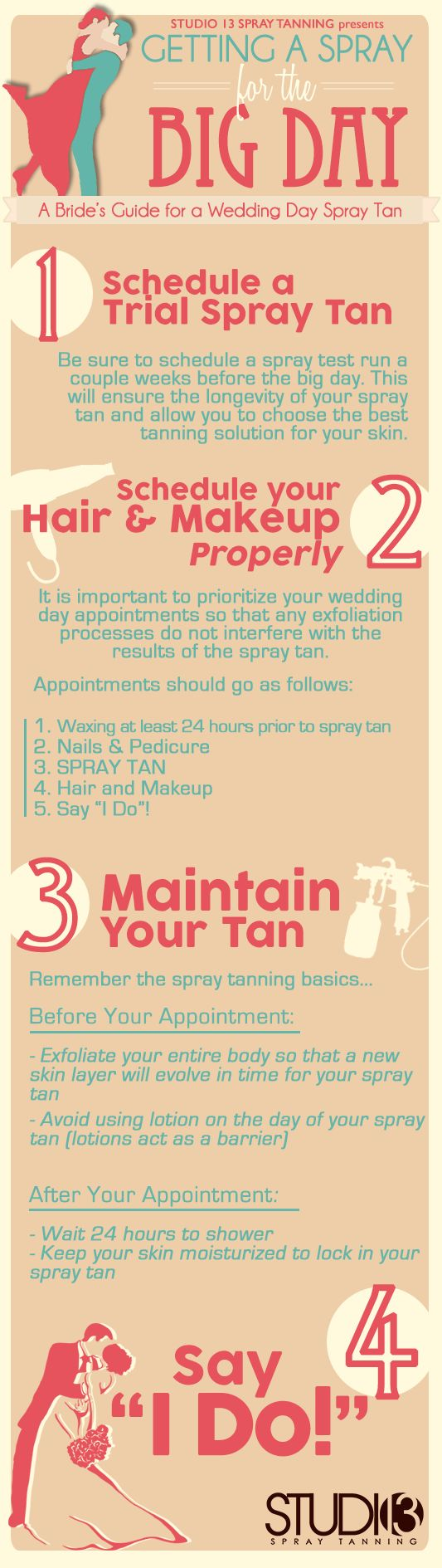 All you need to know for your wedding day spray tan, or just spray tanning in general. For more spray tanning tips visit http://www.Studio13SprayTanning.com