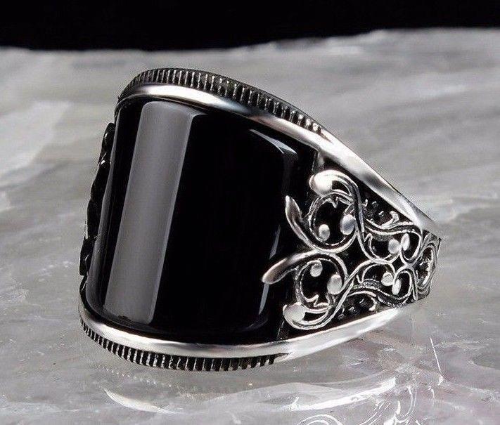 Piedra de ónice turco de lujo 925 Sterling Silver Anillo de hombre de Mans negro todos nosotros si̇ze