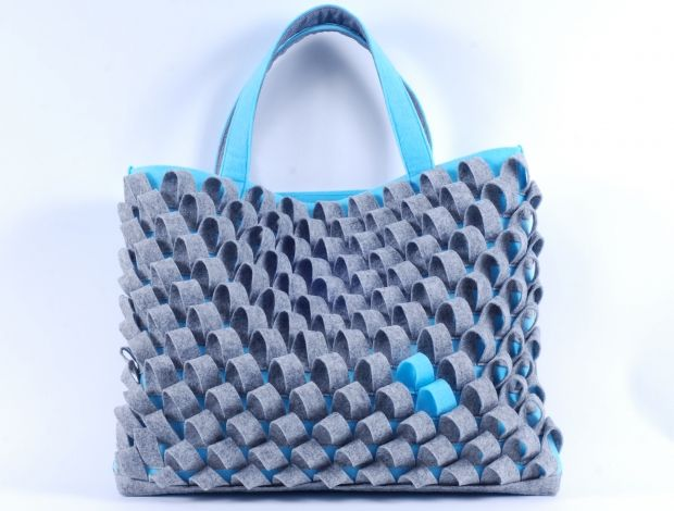 "Scaled Bag ""Grey-Turquoise"""