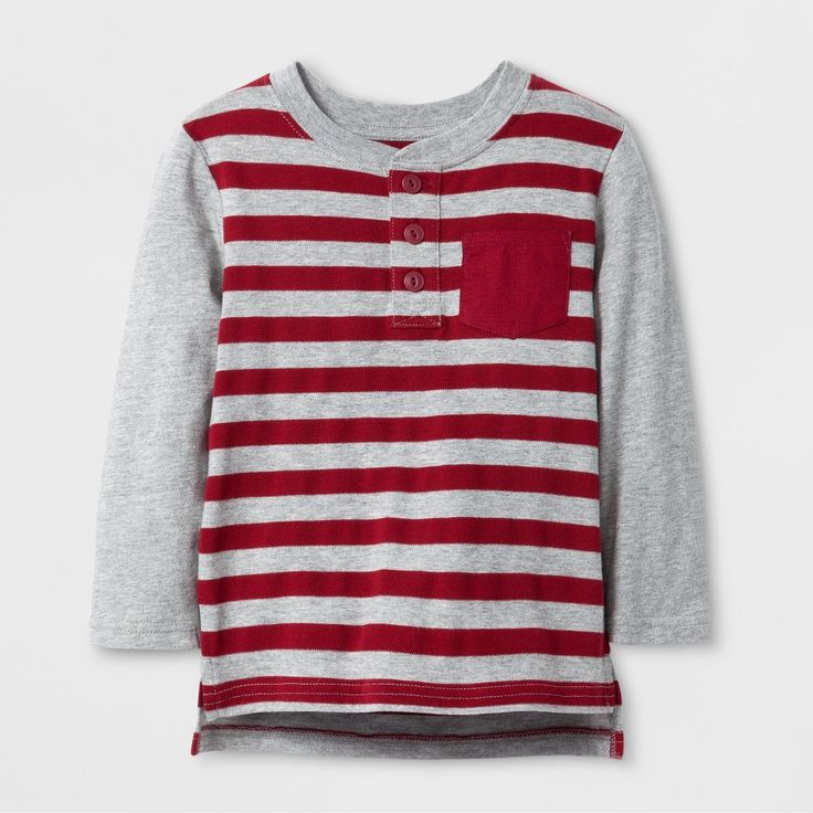 Toddler Boys' Long Sleeve Henley Cat & Jack Dark Red Stripe