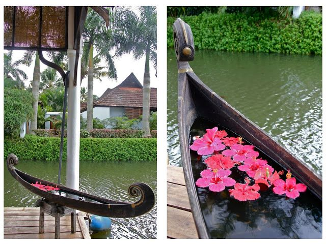 the snake boat with flowers