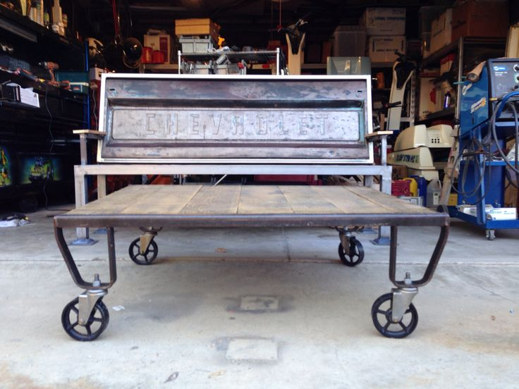 Vintage Chevy tailgate bench and  pallet skid coffee table.