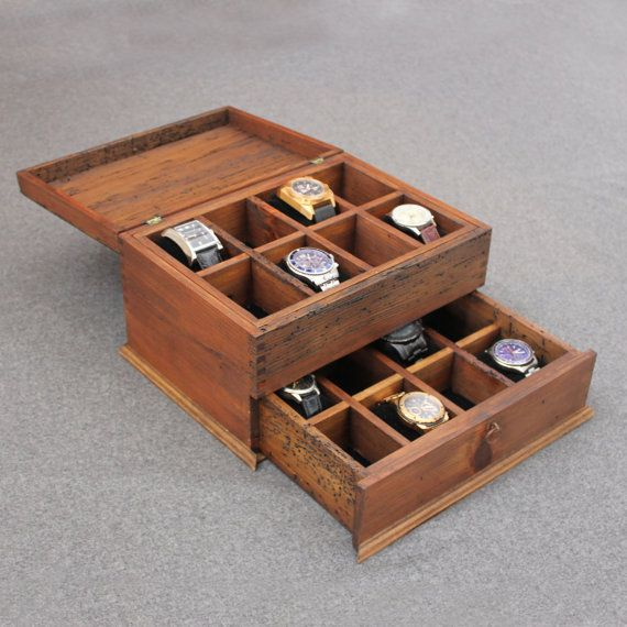 Boîte de montre masculine rustique personnalisées pour 16 montres avec tiroir