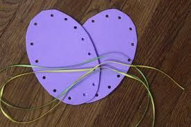 48 best kids easter crafts images on pinterest creative game and threading is always fun use pretty fine ribbons to thread through the holes the toddler activitieseaster negle Choice Image