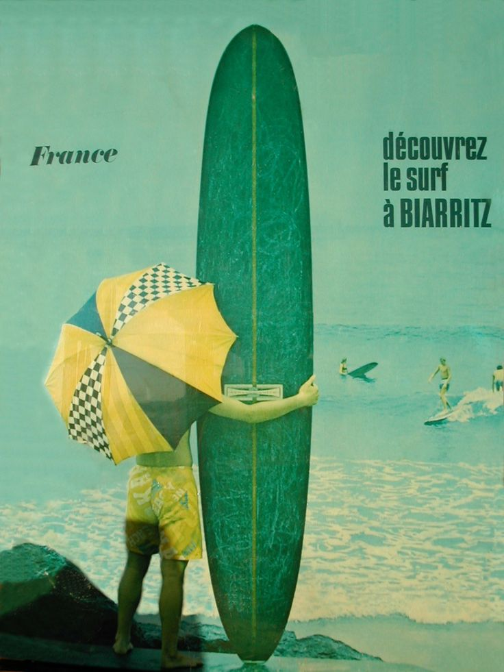 Surf Biarritz... With an umbrella of course. Vintage. http://www.biarritz-surf.tv