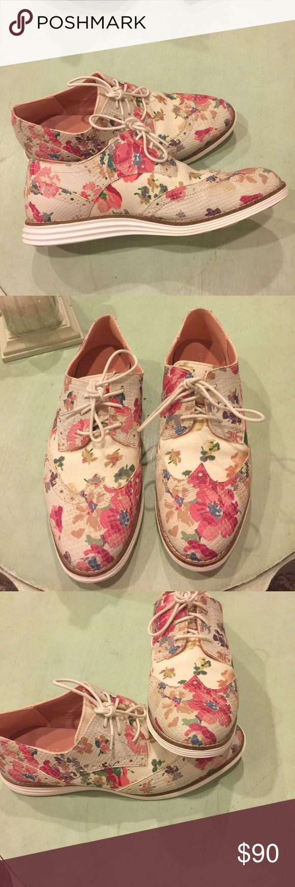 Floral Cole Hann shoes Gorgeous Cole hann floral print on canvas and snakeskin shoes - wing tip oxford with rubber sole- excellent condition-  size 7.5 B- tons of beautiful detail Cole Haan Shoes Flats & Loafers