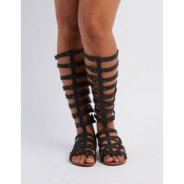 Twisted Wide Width & Calf Knee-High Tall Knee-High Gladiator Sandals ($47) ❤ liked on Polyvore featuring shoes, sandals, black, roman sandals, wide width gladiator sandals, tall strappy sandals, vegan sandals and black sandals
