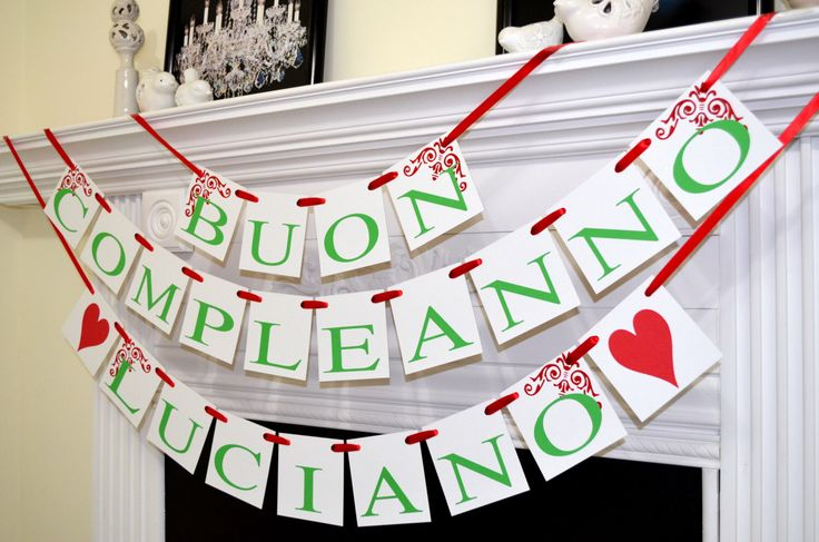 Buon Compleanno Banner, Italian Birthday banner garland, Italian birthday party, red, green white Birthday decoration, birthday sign by DCBannerDesigns on Etsy https://www.etsy.com/listing/203106445/buon-compleanno-banner-italian-birthday