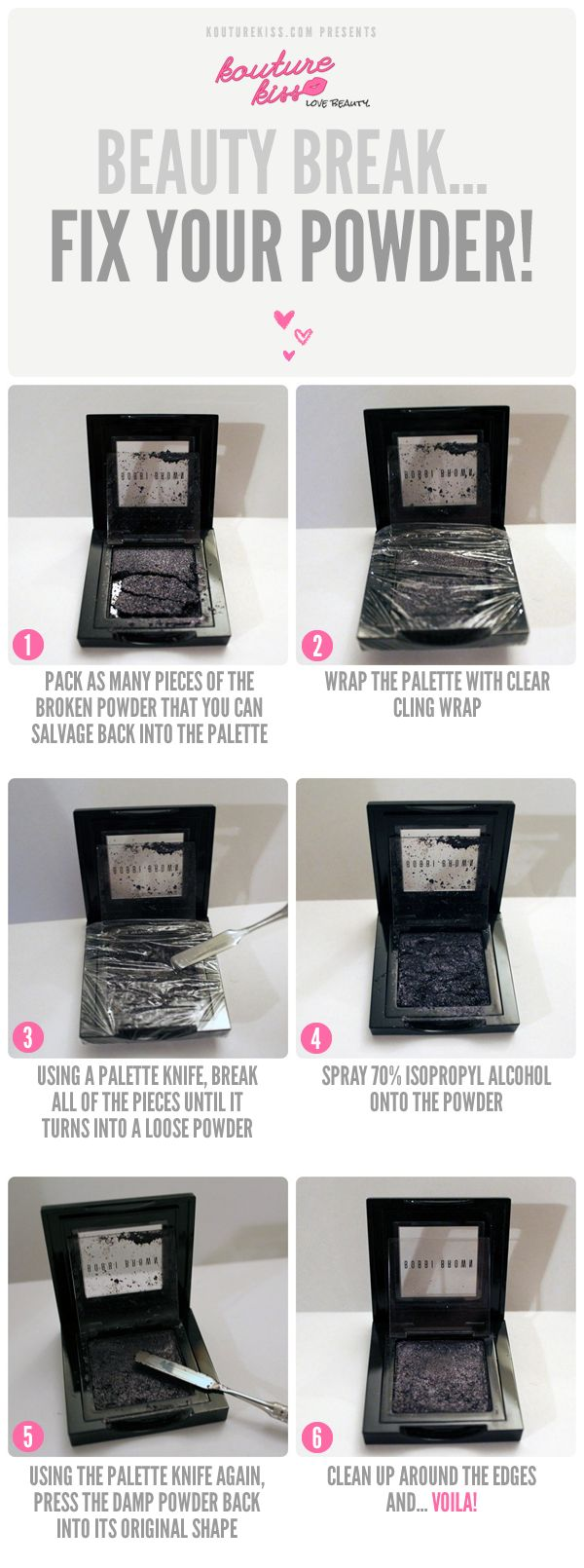 How to fix broken powder makeup with alcohol in four simple steps - Fix Your Broken Powder To Make It Good As New