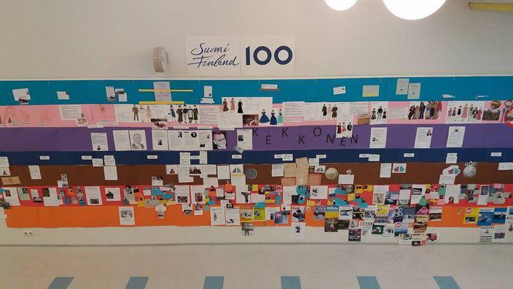 Suomi 100 -aikajana liikunta-kulttuuritalon aulassa | Juuan kunta