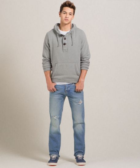 Though Hollister's key demographic is teens, the company's clothing is designed to fit anyone who can wear adult sizes. Key styles for boys include tops like graphic tees and tanks as well as henleys, oxford shirts, v-necks, hoodies, sweaters and cardigans.