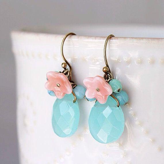 Ocean Blue Drop Earrings. Vintage Brass Wire by YuniDesigns