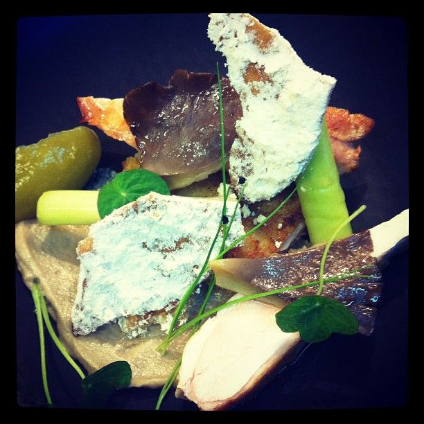 Baby chicken, oyster mushroom, smoked chipotle, chicken skin, and leeks. 24 Aug 2012