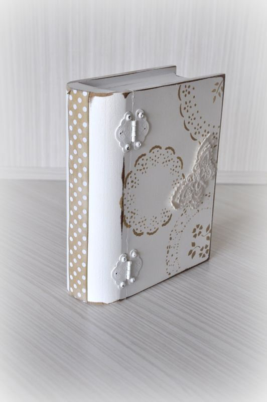 Handmade, wood paint, box, book, lace