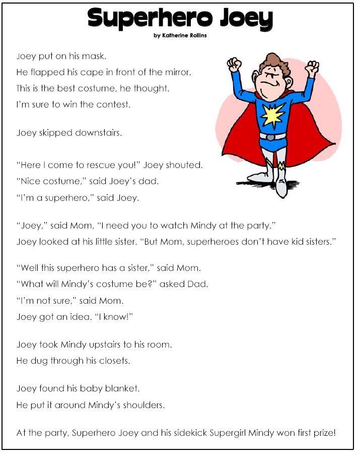 superhero worksheets Superhero Joey 理解力